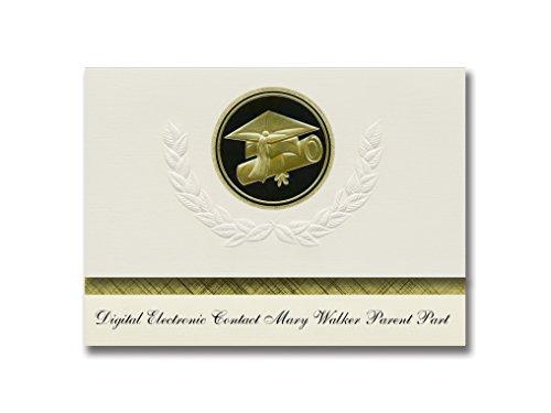 Signature Announcements Mary Walker Elternteil-Ankündigung für Eltern, digital, elektronischer Kontakt, goldfarbene und schwarze Kappe und Diplom-Siegel