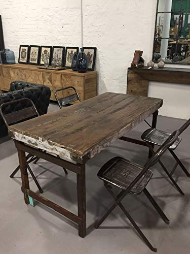 STUFF Loft Vintage Esstisch aus Altholz Massivholz gewachst klappbar Shabby-Chic, ca. 165 x 75 x 76 cm (LxBxH) - Braun