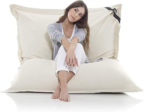 Poltrona a sacco gigante XXL Beanbag grande coperta in cotone 400L bean bag gigante cuscino per sedia per bambini e adulti 180 x 140 cm (Cotone, Beige)
