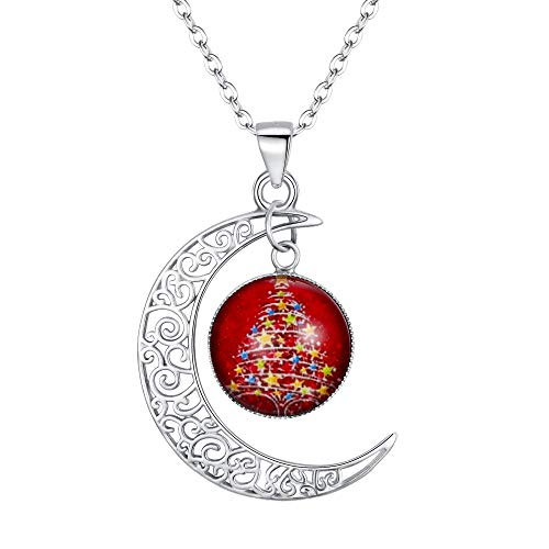 EleQueen Women's 925 Sterling Silver Crescent Moon Christmas Tree Fluorescent Pendant Necklace, rolo chain, 20''