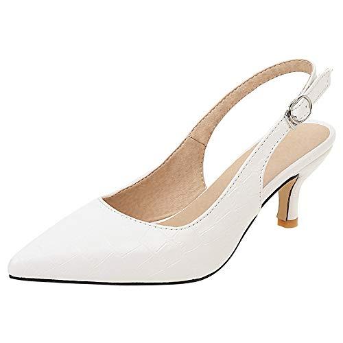 Dieenia Mujer Casual Mini Tacón Slingback Zapatos Puntiagudo Tacón Medio Zapatos Elegante Oficina Zapatos Blanco 36 EU