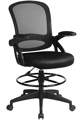 ComHoma Drafting Chair Tall Office Chair Adjustable Height with Flip Up Arms Footrest Ring Mid Back Task Mesh Desk Chair Computer Chair Drafting Stool Chair for Standing Desk, Black
