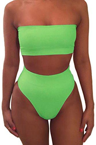 Viottiset Bandeau Top Damen Bikini Set High Waist Badeanzug mit Abnehmbare Träger XL Grün