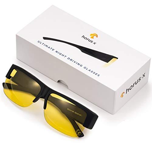 HORUS X - Brille für Nachtfahrten für Männer und Frauen - Nachtfahrbrille für brillenträger - Blendschutzbrille - Fahrsicherheit – Augenermüdung