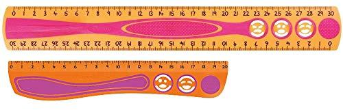 Set Maped stossfestes Kidy Lineal Kinderlineal 20 cm und 30cm aus recyceltem Plastik, mit Anti-Rutsch-Noppen Farbe Orange Pink