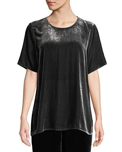 Eileen Fisher Women's Short-Sleeve Velvet Box Top, Charcoal, Petite X-Small (PP)