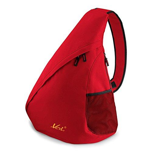 Moderner Messenger Dreieck-Rucksack, Umhängetasche, Body Bag, Crossover Sling Bag Farbe: Rot - Mit Veri ® Logo