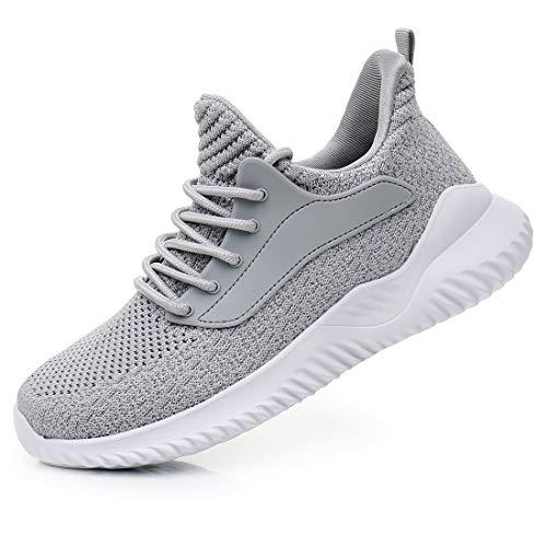 Damen-Sportschuhe zum Hineinschlüpfen, leicht, Netzstoff, atmungsaktiv, für Fitnessstudio, Arbeit, Joggen, Grau - grau - Größe: 41 EU
