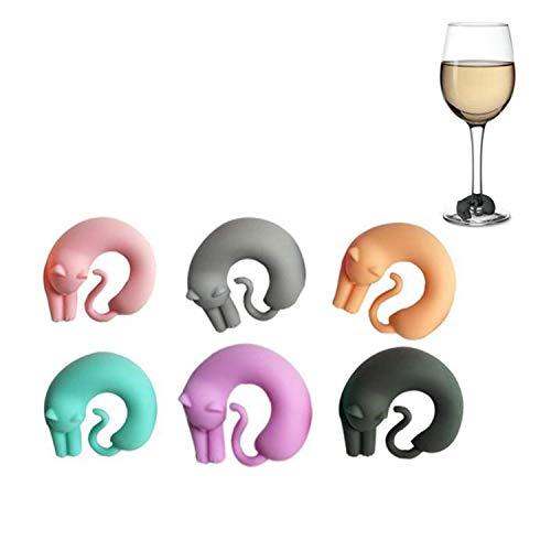 N\A Jiexue 6PCS Silicone Multicolore Simpatici Gatti Marcatori per Bicchiere di Vino Charms per Vino Marcatori per Bere in Silicone per Feste o riunioni di Famiglia