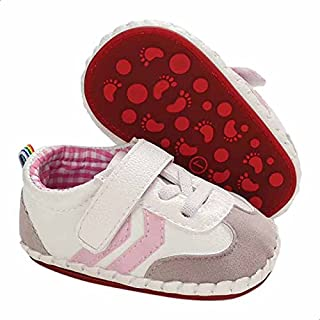 Mix and Max Chevron-Stripe Velcro-Strap Low-Top Lace-Up Shoes for Girls - Multi Color, 0 - 6 Months