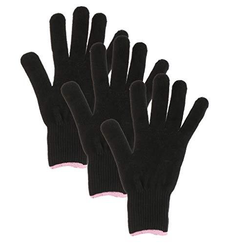 3 Stück Hitzeschutzhandschuh, Friseur Hitzebeständiger Handschuh, Schwarz