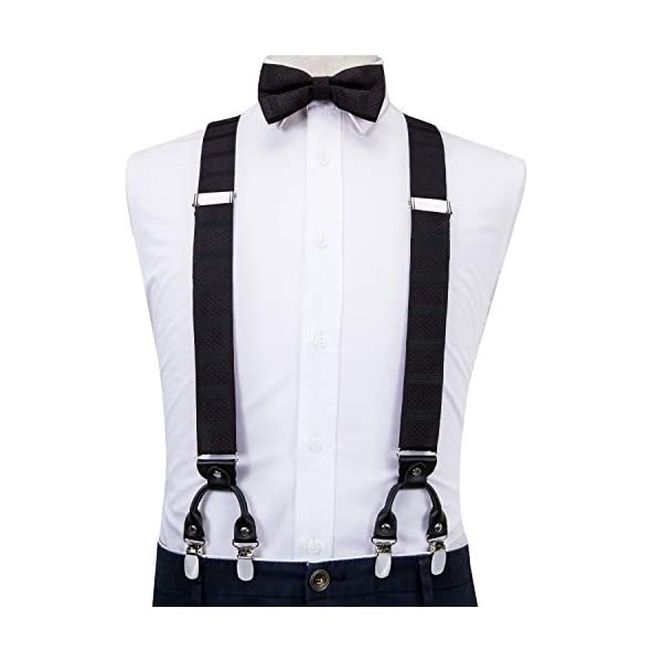Dubulle Mens Clips Suspenders and Pre tied Bow Tie Set with Pocket Square Y Shape Adjustable Braces