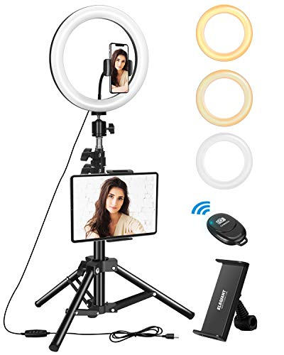 ELEGIANT Anillo de Luz Trípode LED 10.2', Aro de Luz con Trípode Soporte 1.34 m para Tableta/Móvil con Control Remoto Bluetooth, 3 Modos Luz + 11 Niveles Brillo para Tiktok Live Selfie Volg Youtube