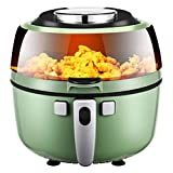 Freidora de aire de cocina eléctrica, 6,5 l / 1350W Fryers de aire caliente grande de 6,5 l / 1350W Oilla de oleza de aire caliente, pantalla táctil LED / asado / horneado / Mantenga caliente, conveni
