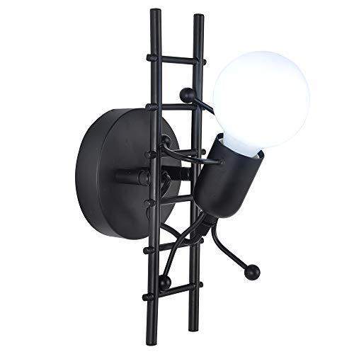 Goeco Humanoid LED Wandleuchte, Cartoon Wandlampen Innen, Höhe 28cm, Einfacher Stil Wand Lampe für Wohnzimmer Kinderzimmer Flur Schlafzimmer, 220V E27 Basis, Glühbirne nicht Enthalten (Schwarz)