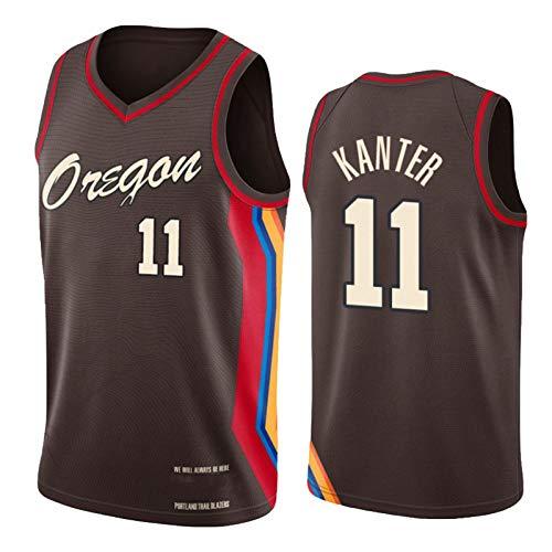 Enes Kanter Jersey, 2021 New Season Portland Trail Blazers #11 Herren Basketball Trikots für Männer, Retro Jugend Training Sport Weste, Outdoor Fitness Kleidung Gr. M, blau