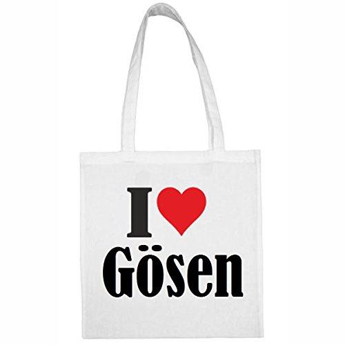Tasche I Love Gösen Größe 38x42 Farbe Weiss Druck Schwarz