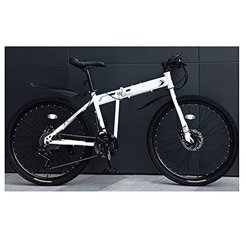MENG Folding Bike for Adults, 24 26-Inch 30-Speed Mountain Bike High Carbon Steel Aluminium Alloy Outdoor Bicycle for Daily Use Trip Long Journey,D,24Inch
