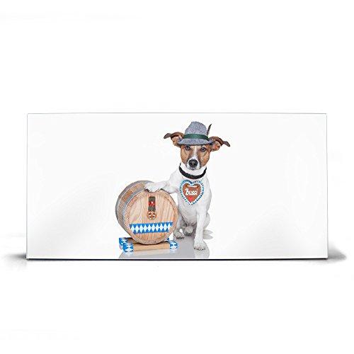 banjado Design Magnettafel grau | Wandtafel magnetisch 37x78cm groß | Metall Pinnwand | Memoboard mit Magneten und Montageset | Motiv Bayer Jack Russel