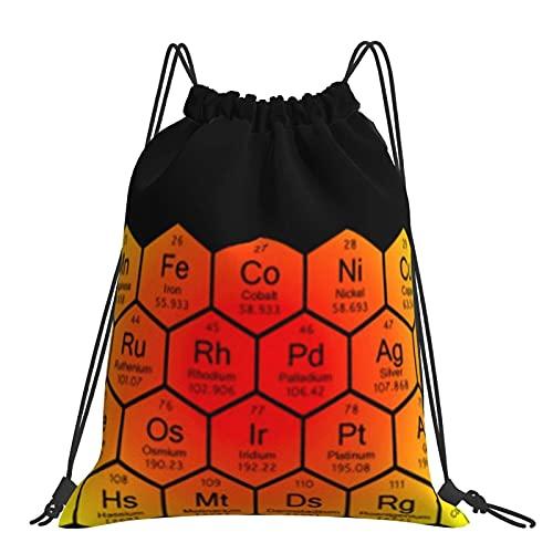 Bolsa de gimnasio Nido de abeja Tabla periódica Arco Iris Mochila con cordón Bolsas deportivas Bolsa de playa Para Yoga Gimnasio Natación Viajes Playa