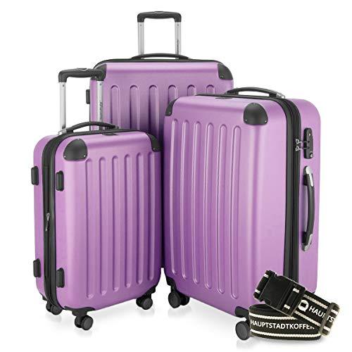 Hauptstadtkoffer - Spree - 3er-Koffer-Set Trolley-Set Rollkoffer Reisekoffer-Set Erweiterbar, TSA, 4 Rollen, (S, M & L), Flieder +Gepäckgurt