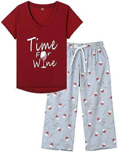 MyFav Damen Schlafanzug Sommer Pyjama Set Kurze Ärmel Pyjamahose Nachtwäsche Hausanzug Zweiteiliger (Rot,M)