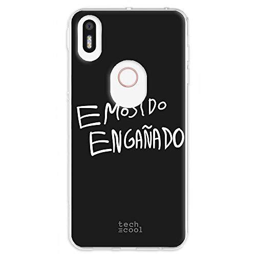 Funnytech Funda Silicona para BQ Aquaris X5 Plus [Gel Silicona Flexible, Diseño Exclusivo] Frase Meme EMOSIDO ENGAÑADO Humor Fondo Negro