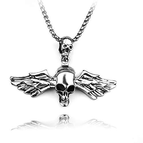 ZZYLHS Cadena de Acero Inoxidable + joyería ángel de la aleación de la Vendimia for los Hombres Hombre Collar Doble de la Pluma cráneo Colgante Accesorios (Color : A)