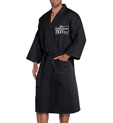 Personalized Waffle Kimono Robes Wedding Honeymoon Spa Bathrobe Black