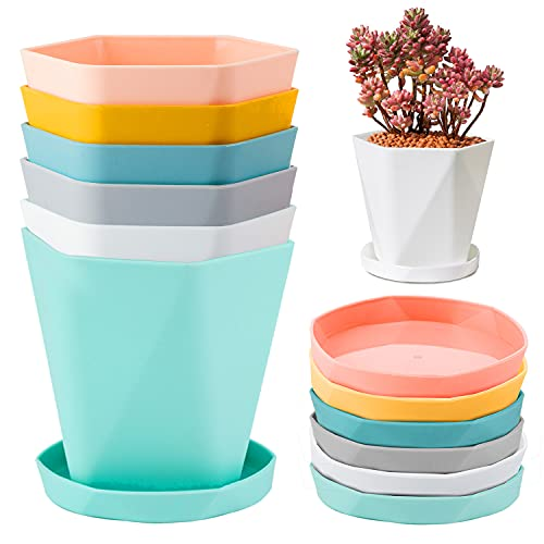 JSPYFITS Vaso per Piante in Plastica con Piattino Set di 6, 16.8CM 6 Colori Stile Nordico Piantatrice della Scuola Materna Decorativa Vasi da Fiori da Giardino Verde per Interni Esterni Aloe, Orchidea