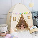 Large Children Playhouse - Beige Princess Girls Indoor Nursery Canvas Play Tent Bed House, Sturdy Frame & Mess Windows, Easy to Put Up and Take Down