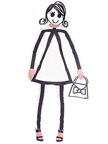 amscan 9905098 Halloween-Kostüm für Damen, 3-teilig, weiß, UK Dress Size 8-10