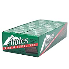 Rectangular three-layered candy' green mint sandwiched between two thin cocoa-based layers 120-Count Packages of Andes Crème de Menthe Thin Mints Individually foil-wrapped, bite-sized pieces Perfect for everyday snacking or a great way to end a wonde...