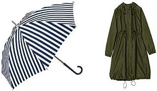【セット買い】ワールドパーティー(Wpc.) 雨傘 長傘 ネイビー 58cm レディース ベーシックストライプ 80508-09 NV+レインコート ポンチョ レインウェア オリーブグリーン FREE レディース 収納袋付き R-1101 OG