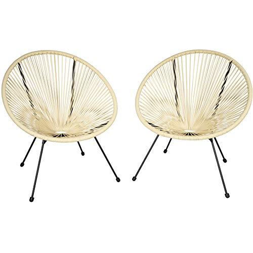 TecTake 800729 2er Set Acapulco Garten Stuhl, Lounge Sessel im Retro Design, Indoor und Outdoor, pflegeleicht, Relaxsessel zum gemütlichen Sitzen - Diverse Farben - (Beige | Nr. 403305)