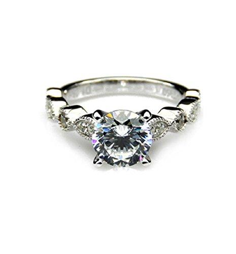 GOWE 1 Carat Moissanites 14k White Gold Vintage Accents Engagement Ring Lab Grown Diamond