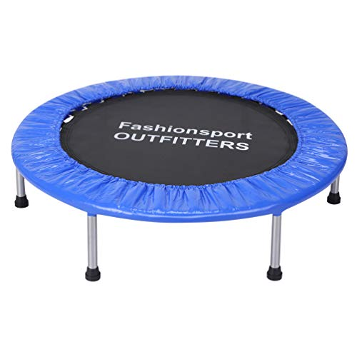 Fashionsport OUTFITTERS Mini Trampoline 38 Inch Portable Fitness Trampoline for Kids Adults Indoor Home Cardio Workout Exercise-Blue