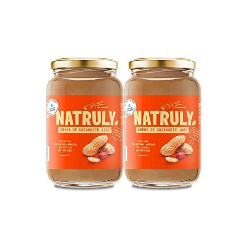 NATRULY Crema de Cacahuete Sin Azúcar, Vegana, Sin Gluten, Sin Lactosa, 100% Cacahuete -Pack 2x500g (antes Natural Athlete)