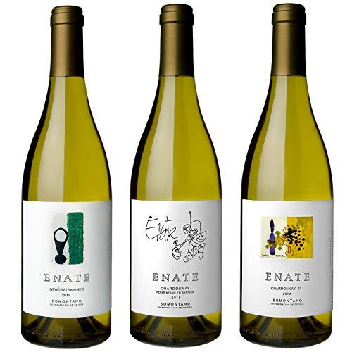 ENATE Estuche de Vinos Blancos - ENATE Gewürztraminer, añada 2019 - ENATE Chardonnay fermentado en barrica, añada 2018 - ENATE Chardonnay - 234, añada 2019 - Paquete de 3 Botellas - 75cl