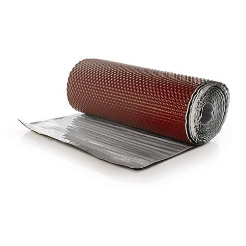 DQ-PP WANDANSCHLUSSBAND | Länge 5m | Breite 300mm | Kastanierot RAL 8012 | hochwertiges Aluminium und Butyl | Selbstklebend | Dach Kaminanschlussband 3D Struktur Dachabdeckung Aluminiumband