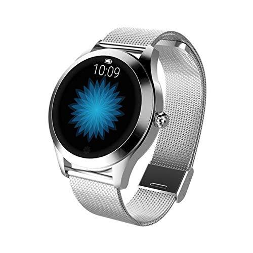 GYY Smart Watch Mujeres Encantadora Pulsera Ritmo Cardíaco Monitor Monitoreo De Sueño SmartWatch Connect iOS Android KW10 Banda (Color : Steel Silver)