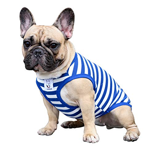 iChoue Dogs Clothes Vest T-Shirts for French Bulldog Pug Boston Terrier Frenchie Cute - Stripes of Blue and White-M