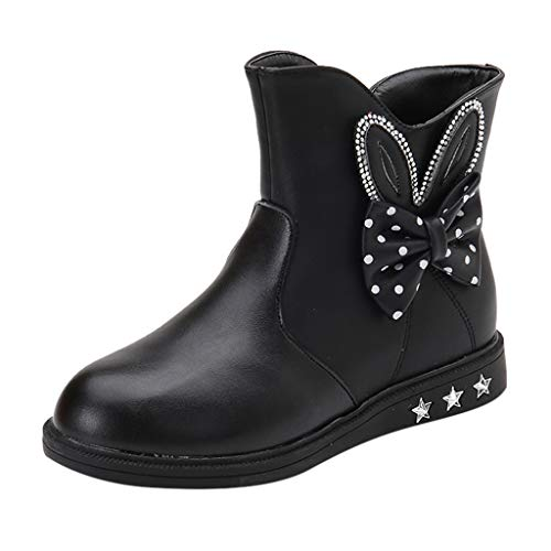 Best Price Kauneus🍭 Girls Round Toe Lovely Rabbit Side Zipper Winter Boots Anti-Slip Leather Snow...