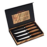 LAGUIOLE - Set di 4 coltelli da bistecca con manici in legno d'ulivo -