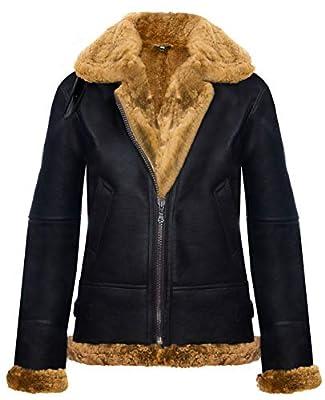 Womens Hooded Sheepskin Jacket B3 Flying Leather RAF Aviator Pilot Brown Ginger M