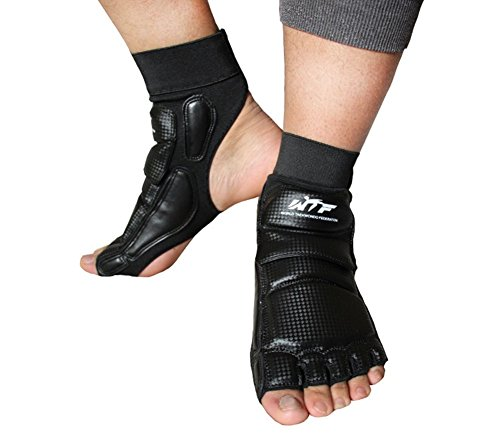 Lorsoul Taekwondo Foot Protector Gear Martial Arts Fight Feet Guard Ankle Support for Men Women Kids Boxing Kicking Punch Bag Sparring Training MMA UFC (Medium, Black)