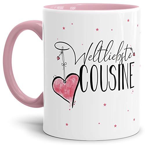 Tasse mit Spruch für die Weltbeste Cousine - Kaffeetasse/Familie/Geschenk-Idee/Mug/Cup/Innen & Henkel Rosa