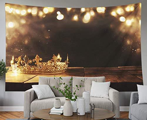 Padre Gift Tapestry, Home Wall Hanging Tapestries Art for D & eacute; cor Living Room Dorm imagen clave de la hermosa corona de reina sobre la mesa de madera vintage filtrada fantasía período medieval