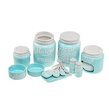 Goodscious 7-Piece Mason Jar Ceramic Kitchenware and Measuring Sets - Cookie Jar, Sponge Scrubber Holder, Utensil Crock, Salt and Pepper Shakers, Spoon Rest, Measuring Cups, Measuring Spoons (Blue)