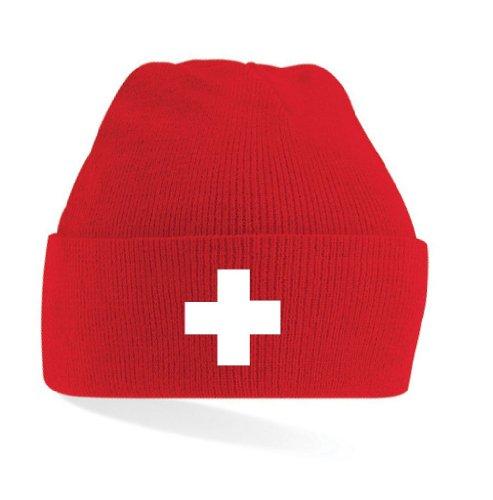 World of Shirt Schweiz/Suisse Kreuz Strickmütze Mütze rot